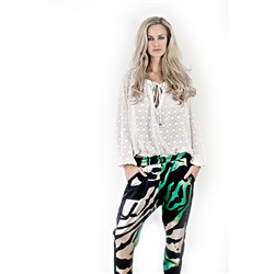 Aden Pants  94%Satin+6%Lycra Zebra Green