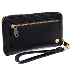 Phone Mid wallet Cow DD Black+S Gold