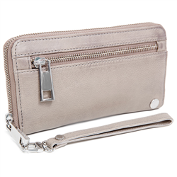 Zip Wallet w sling Cow DD Bark+S Silver