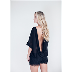 Athena Top, Poly chiffon, Black