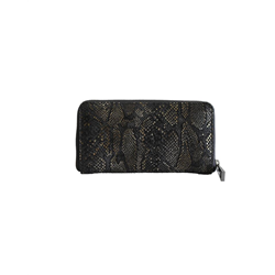 Zip wallet, Africa Chella+ Cow DD, Black + Shimmer Green