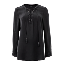 Ariana Blouse, 100% Polyester, Black