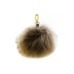 Detachable Fur Pom Pom, Raccoon Natural + S Gold One Size
