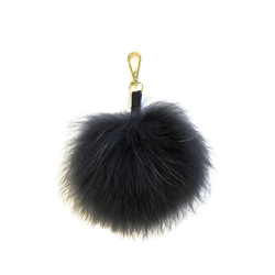 Detachable Fur Pom Pom, Raccoon Asphalt + S Gold One Siz