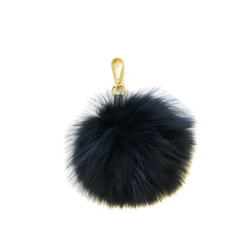 Detachable Fur Pom Pom, Raccoon Black + S Gold One Size