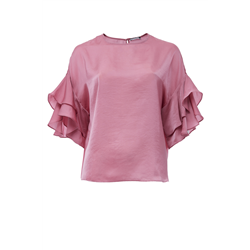 Belle Top 100 % Polyester Solid Orchid Pink