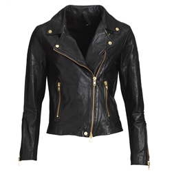 Bikery jacket Lamb wash look Black S Gold