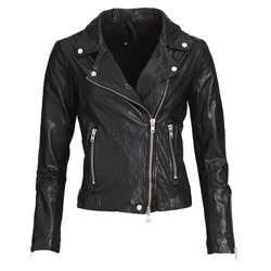 Bikery jacket Lamb wash look Black S Silver