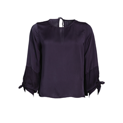 Hanne Blouse 100% Modal Satin Crinkle Purple Iron