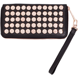 Snap Purse + wrist Sling Buff Napa Black+Rose Gold