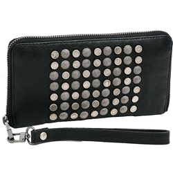Comb Wallet w Sling, Cow DD Black+A Silver