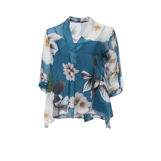 Chiffong Blouse Cherry flower.jpg